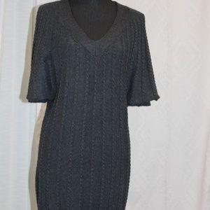 Calvin Klein V-neck Dark Gray Sweater Dress.